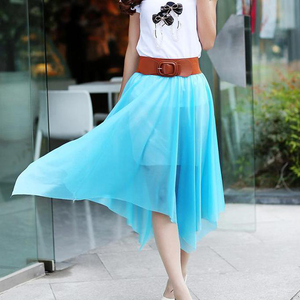 New-Fashion-Women-Lady-Chiffon-Irregular-Long-Maxi-Dress-Elastic-Belt-Skirt