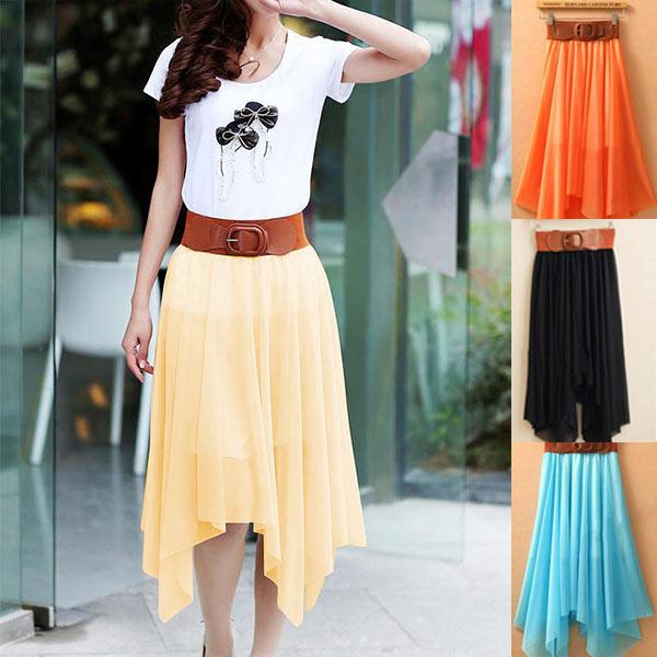 Fashion-Women-Lady-Chiffon-Irregular-Long-Maxi-Dress-Elastic-Belt-Skirt