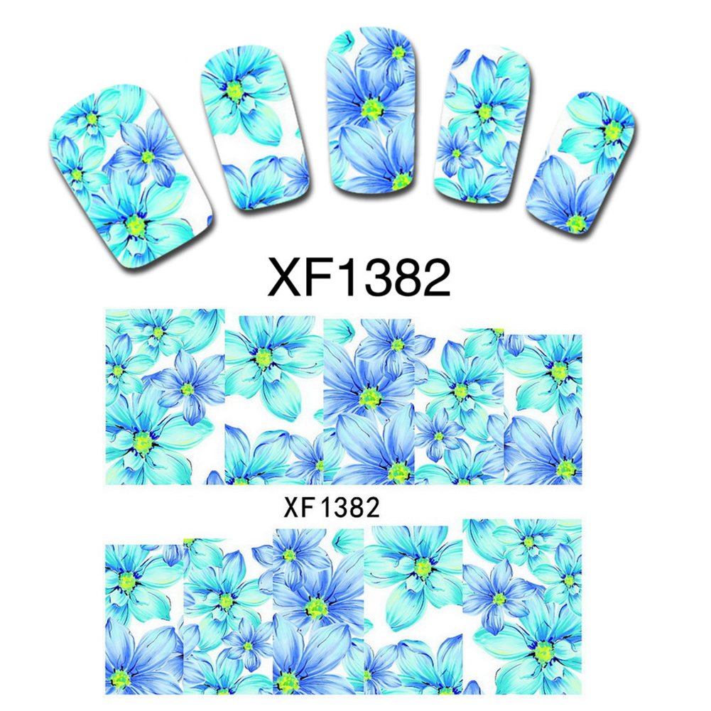 Beautiful Flowers Design Nail Art Nail Water Transfer Stickers Full Wrap