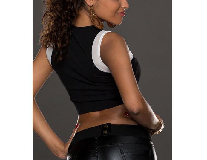 Women Sexy Sexy Gauze Splice Sleevelss Splice T-Shirt Crop Top Blouse