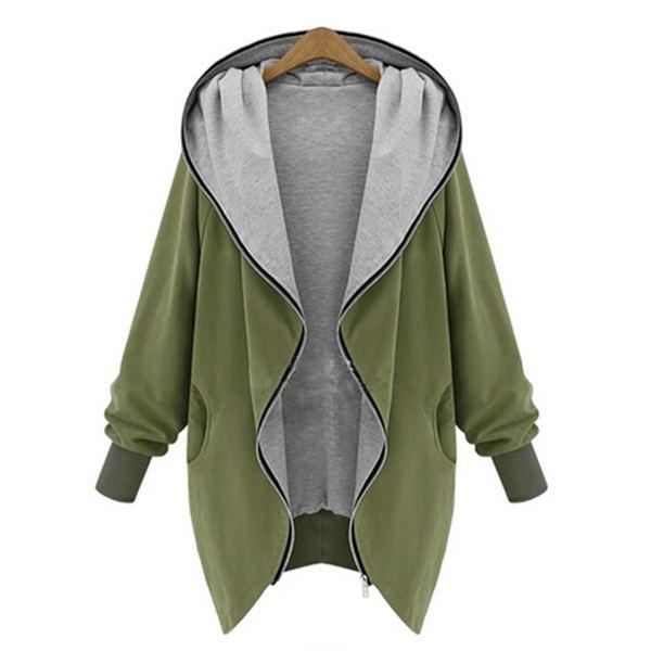 New Women's Plus Hoodie Zip Sweatshirts Cardigan Thin Coat Green Jacket