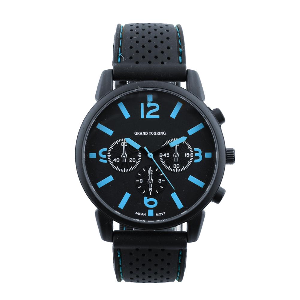 Hot Simple Men Silicone Black Strap Band Analog Quartz Sports Wrist Watch