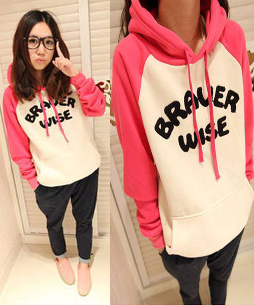 Korean Women's Autumn Hoodie Sweatshirt Jacket Casual Sweater Outwear Coat