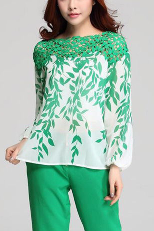 Fashion Womens Crochet Off Shoulder Leaf Printed Long Sleeve Blouse Tops