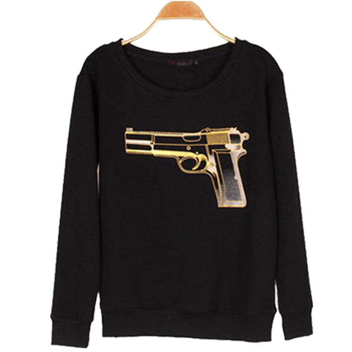 New Woman Gun Pattern Pullover Hoodie Cotton Warm Tops Sweatshirt Black/White