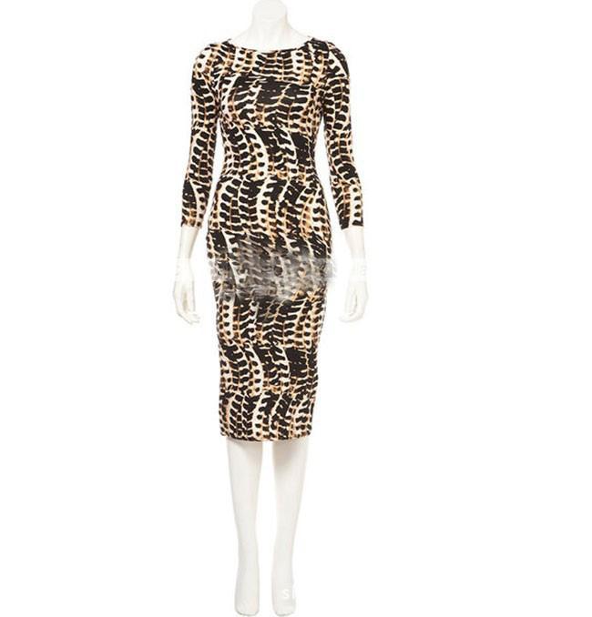 Fashion Sexy Women Leopard Bodycon Long Sleeve Pencil Clubwear Evening Dress