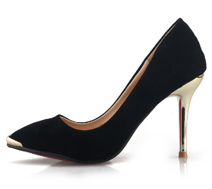 New Fashion Women Metal Pointed Toe Sexy Suede Platform Casual High Heel Shoes