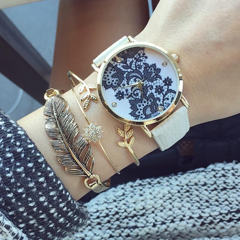 Lace-Print-Light-Watch-Women-039-s-Leather-
