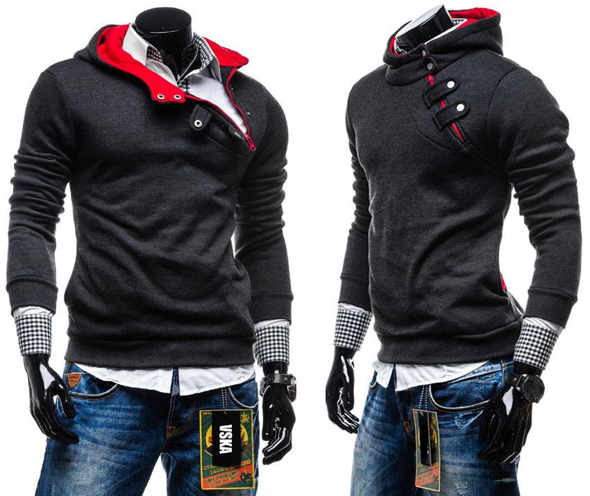 Fashion Men Hoodie Irrgular Clutch Zip Stylish Stand Collar Tops Jumpers