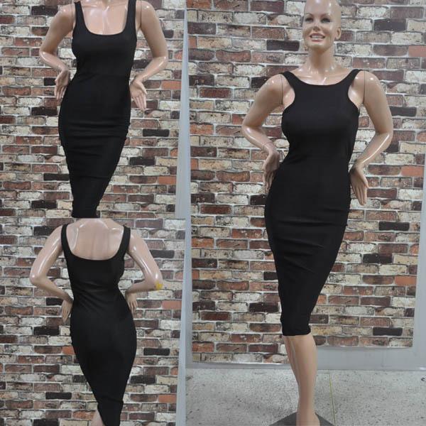 Women Lady Sleeveless O Neck Sexy Bodycon Solid Casual Beach Long Dress