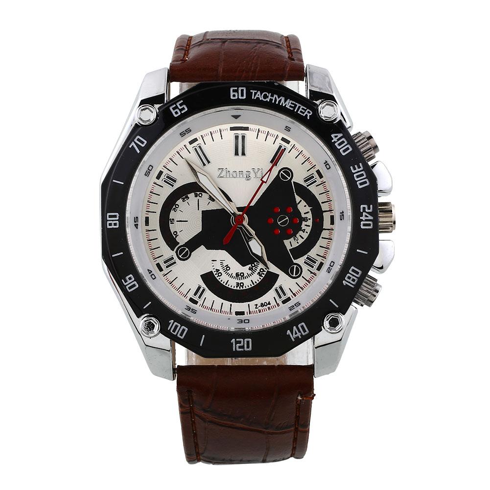 unisex faux leather analog quartz wrist sport