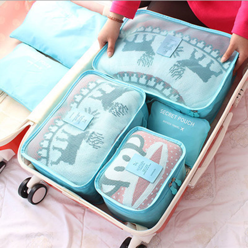 6Pcs Clothes Storage Bags Cube Travel Clothing Luggage Organizer Pouch 7Color