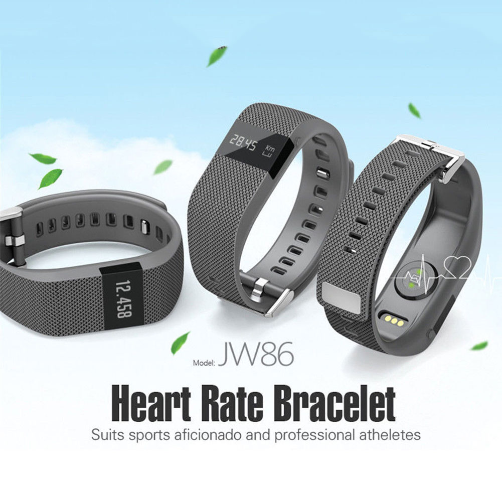 JW86 Heart Rate Monitor Bluetooth Smart Bracelet for Android IOS Samsung Black U