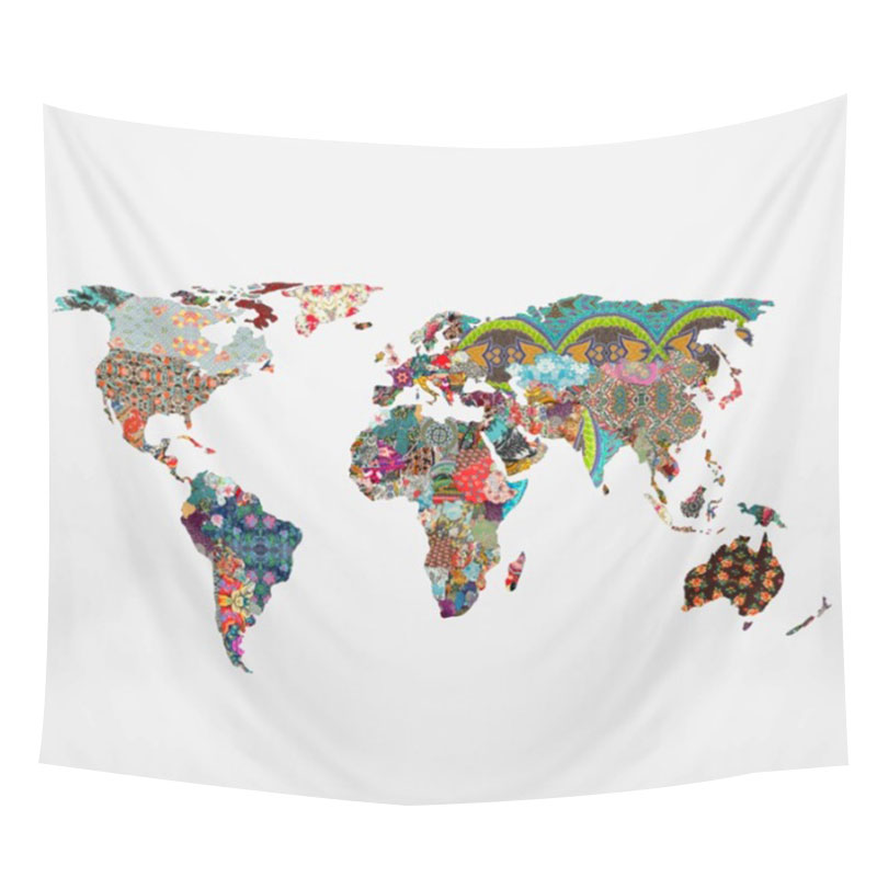 World Map Rug Ebay: World-Map Printed Rectangle Versatile Tapestry Bedroom