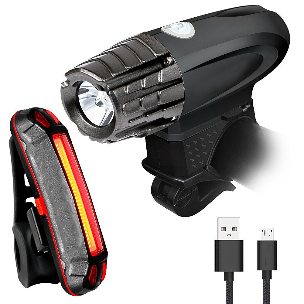 USB Rechargeable LED Mountain Bike Cycle Front Rear Tail Light Waterproof Lamp