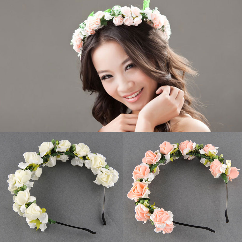 flower headbands for weddings flower garland floral bridal headband wedding prom hair 4196