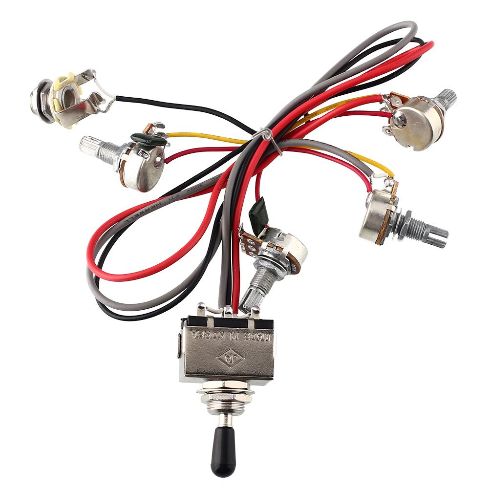 9b44 Wiring Harness 2v 2t 3 Way Toggle Switch 500k Pots Guitar Emg Solderless Kit 1 Or 2 Pickups Long Shaft Ebay Humbucker Lp