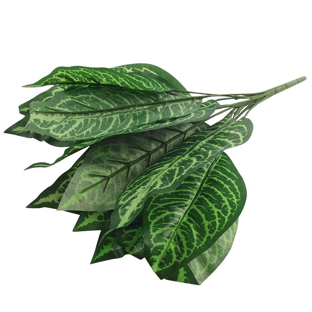 54A1-New-Home-Simulation-Plants-Green-of-14-Large-Artificial-Leaves-Foliage