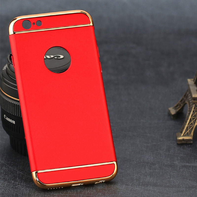 1582-Electroplated-3-In-1-360-Protection-Hard-Matte-Phone-Shell-For-iPhone6-6s