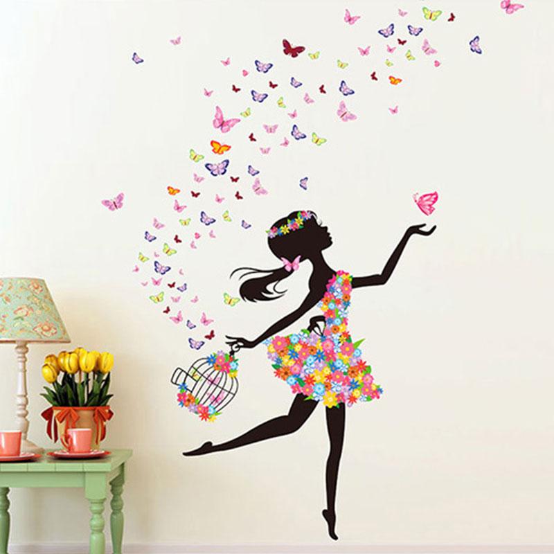 ACF0-Girl-Flower-Fairy-Elves-Decal-Art-Mural-Wall-Sticker-Home-Decor-DIY-PVC