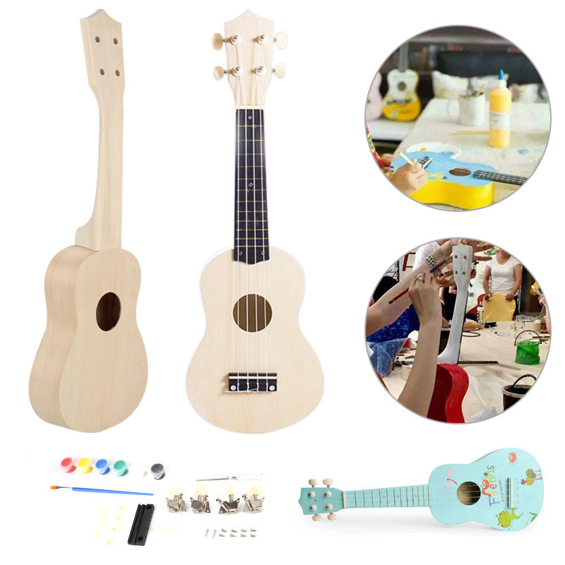 make your own 21 39 39 ukulele soprano wooden guitar diy kit with painting kit ebay. Black Bedroom Furniture Sets. Home Design Ideas
